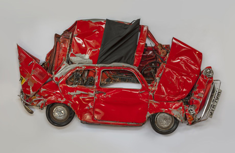 FIAT 500S CRUSHED INTO 2D ART