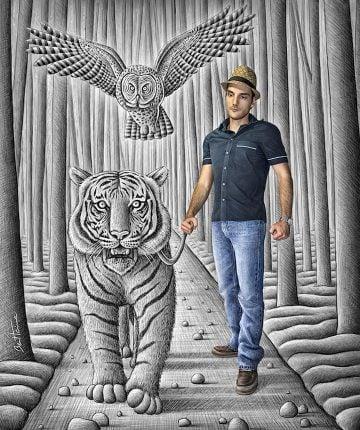 Pencil Vs Camera - 74 - Tiger and Owl