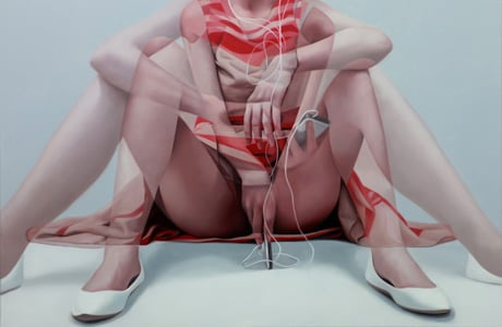 Overlapping paintings by Horyon Lee