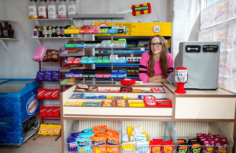 The Felt Cornershop by Lucy Sparrow sells hand-stitched items