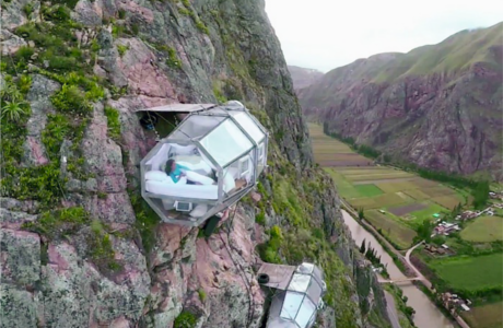 Skylodge Is A Transparent Sleeping Capsule Hanging From A Mountain