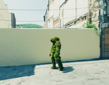 A man walking through Bejar dressed in moss. The Moss Men of Bejar.