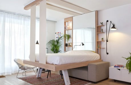 Atelier Décadrages Built A Sliding Bed That Can Be Stored In The Ceiling