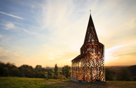 A See-Through Steel Church By Gijs Van Vaerenbergh