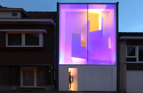 A Modern House That Lights Up In Different Colors