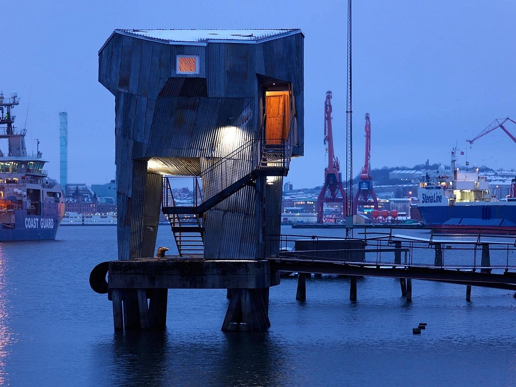 An elevated public sauna in gothenburg by raumlabor - The industrial looking sauna in the port city of goteborg ...