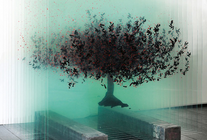 A Three-Dimensional Glass Sculpture Of A Tree By Artist Ardan Özmenoglu
