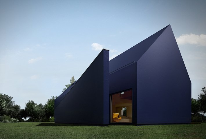 An Angular House With A Protruding Wall By MOOMOO Architects