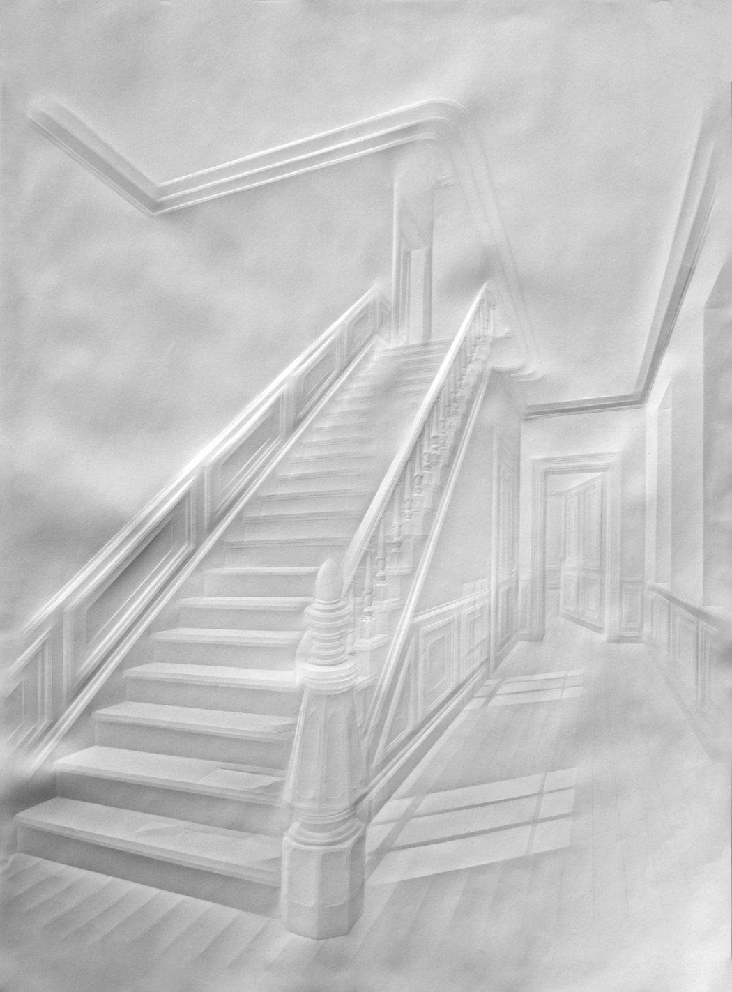 simonschubert(stairs with figure), 2015, 100cm x 70cm