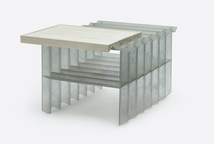 A Corrugated Coffee Table By Louie Rigano