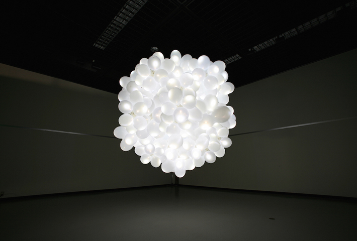 A Lamp Made From A Cloud Of Balloons