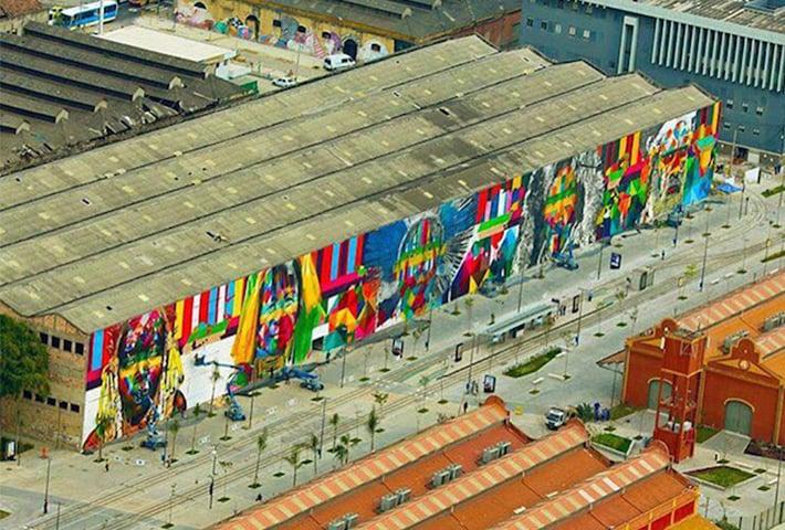 An Artist Creates A Huge Mural For The Rio Olympics