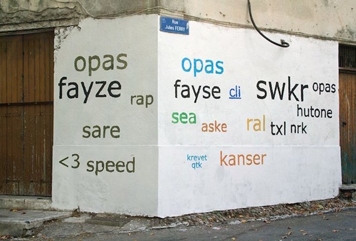 An Artist Re-Writes Graffiti Into Generic Text