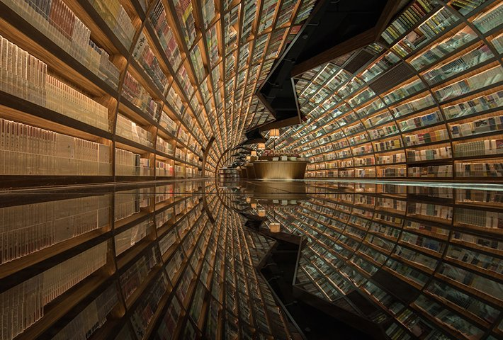 A Mirrored Tunnel Bookshop In China