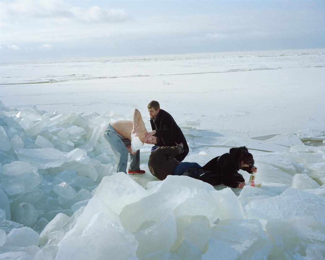 Drunk people on the frozen Gulf of Riga, 2013.