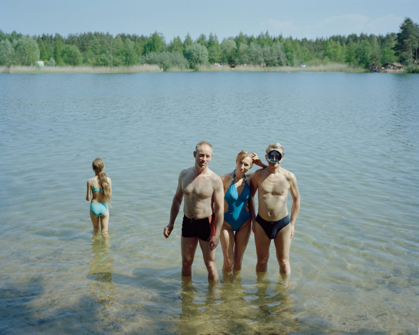 Peope swimming in the quarry near by Bolderaja 2014.