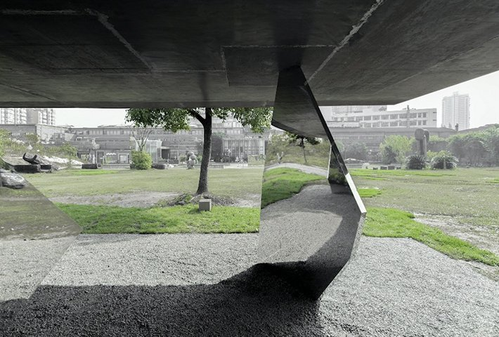 A Pavilion Propped Up By Rocks Of Steel