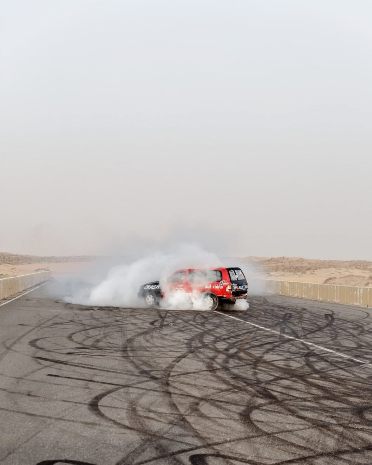 A car on the Bazooka team on a stretch of asphalt in Umm Al Quwain.