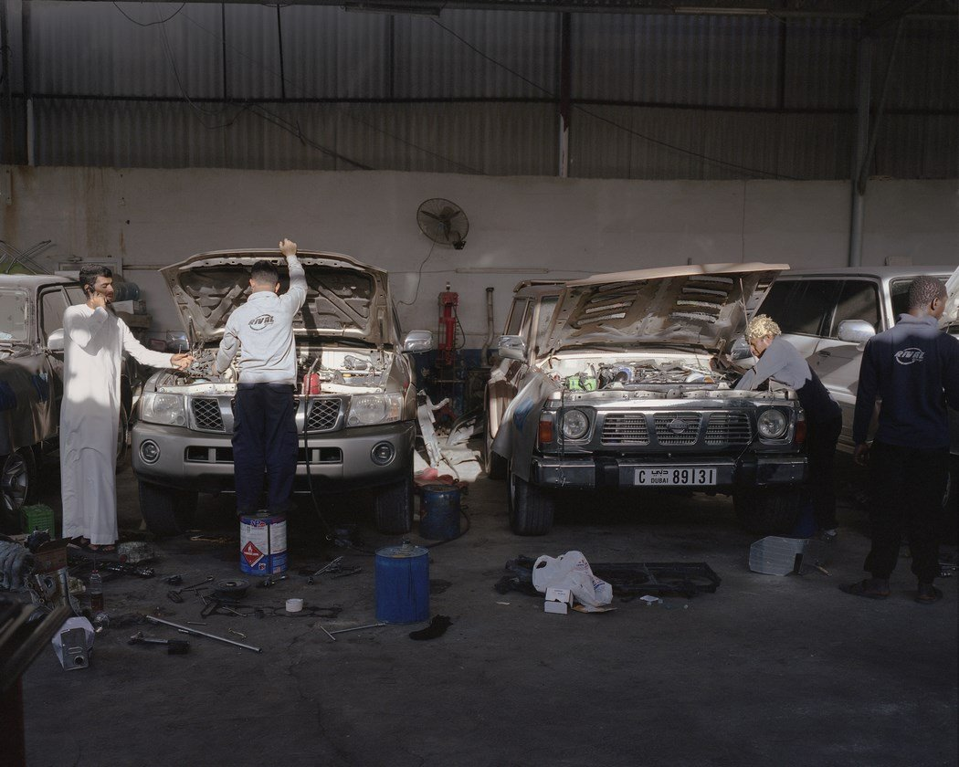 Mechanics at garage in Ras Al Khaimah, UAE modify SUVs for drifting