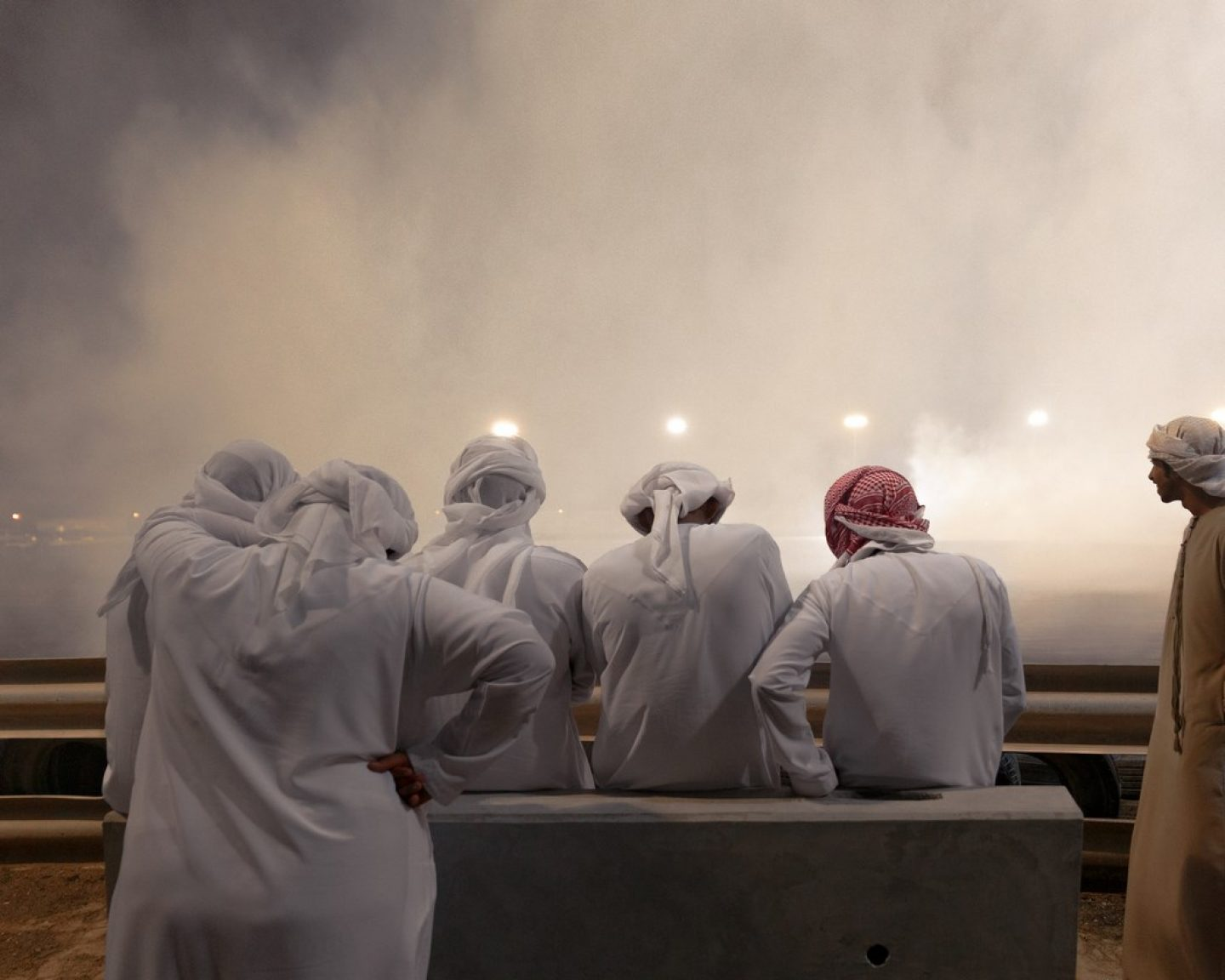 Rubber smoke fills the air at a contest in Umm Al Quwain, UAE.