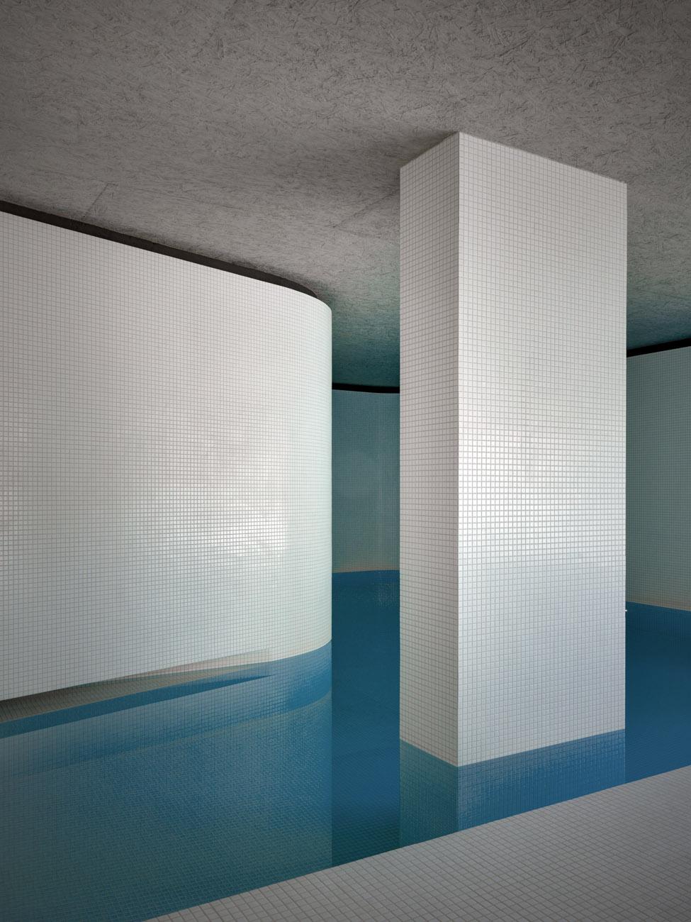 a swimming pool inside a sunken pavilion. Black Bedroom Furniture Sets. Home Design Ideas