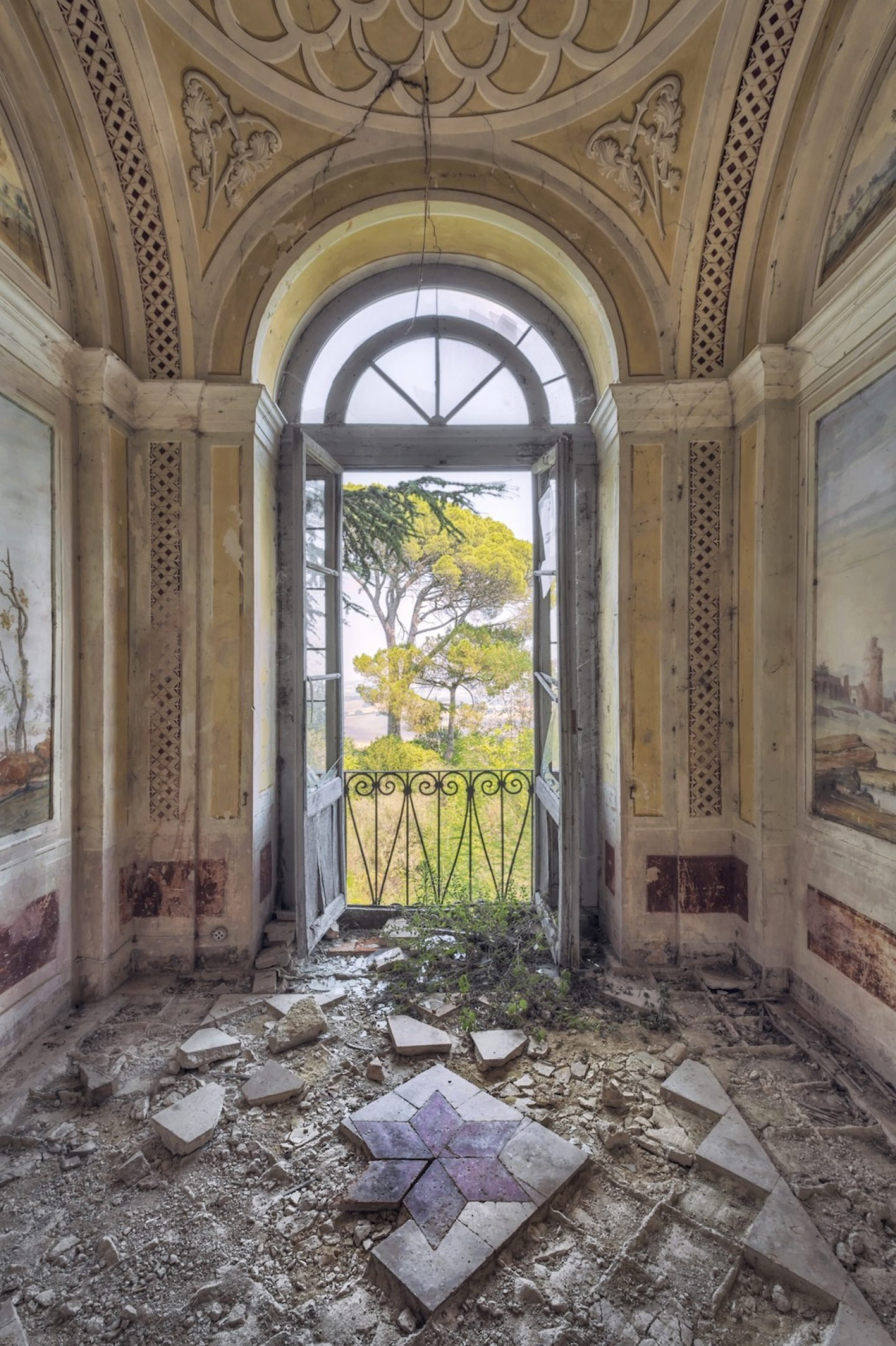 baroque room with view in nature in abandoned palace