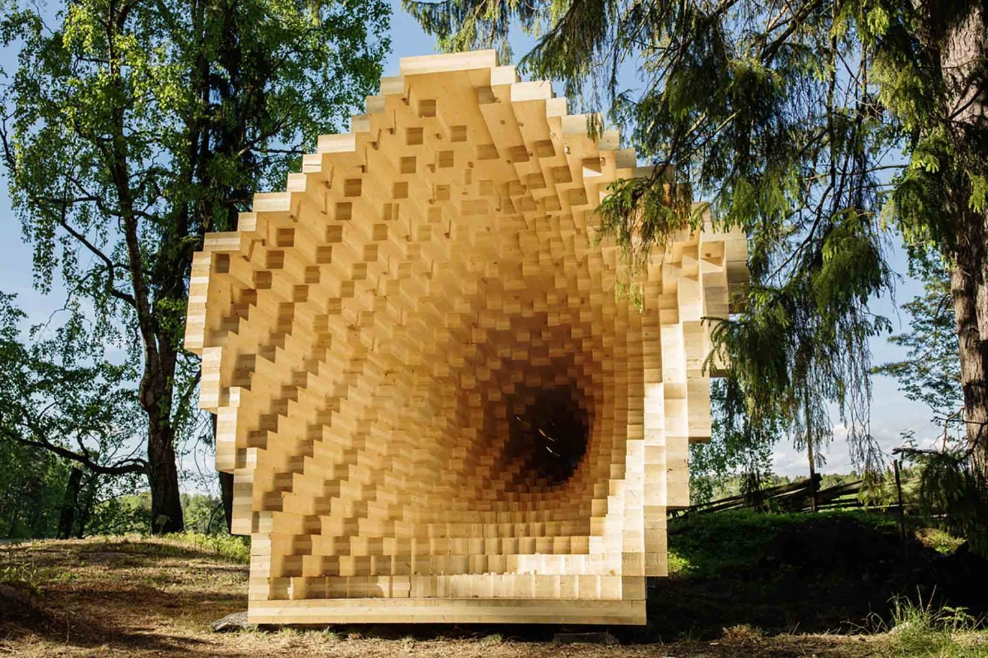 A Pixelated Wood Installation