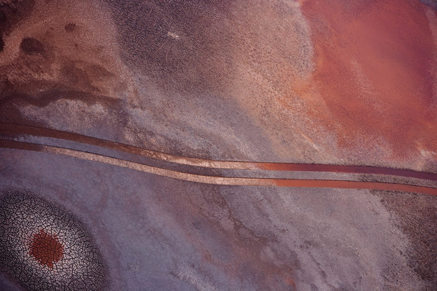 Tracks in bauxite waste