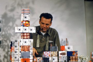Charles Eames playing with the House of Cards-Pattern Deck-1952-∏-2017 Eames Office-LLC