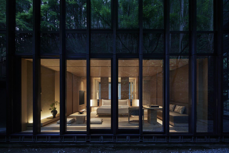 Aman Kyoto, Japan - Pavilion bedroom evening: Susuki, Nara, Kaede, Hotaru, Takagamine, Washigamine.tif