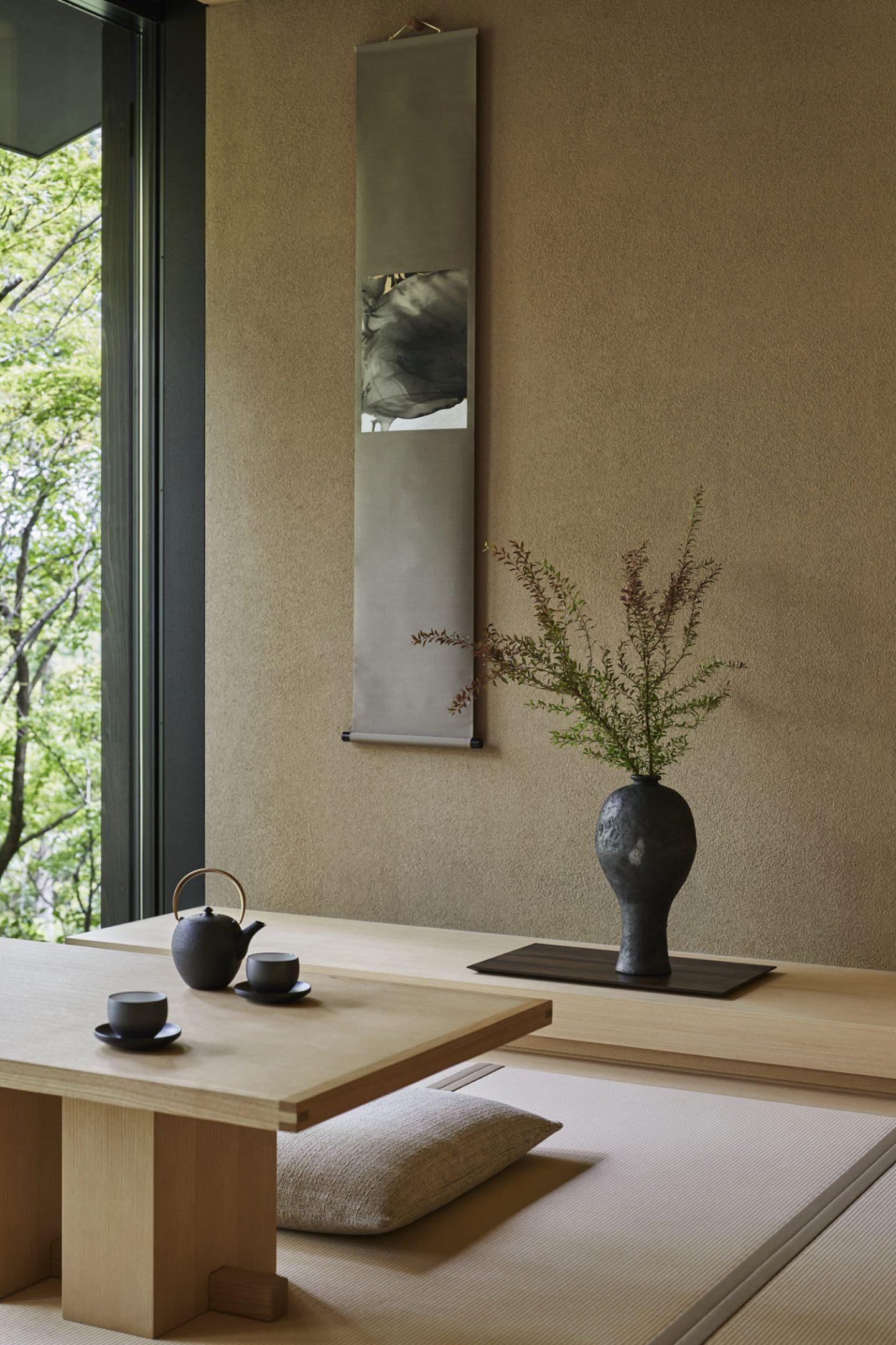 Aman Kyoto, Japan - Pavilion livingroom: Susuki, Nara, Kaede, Hotaru, Takagamine, Washigamine