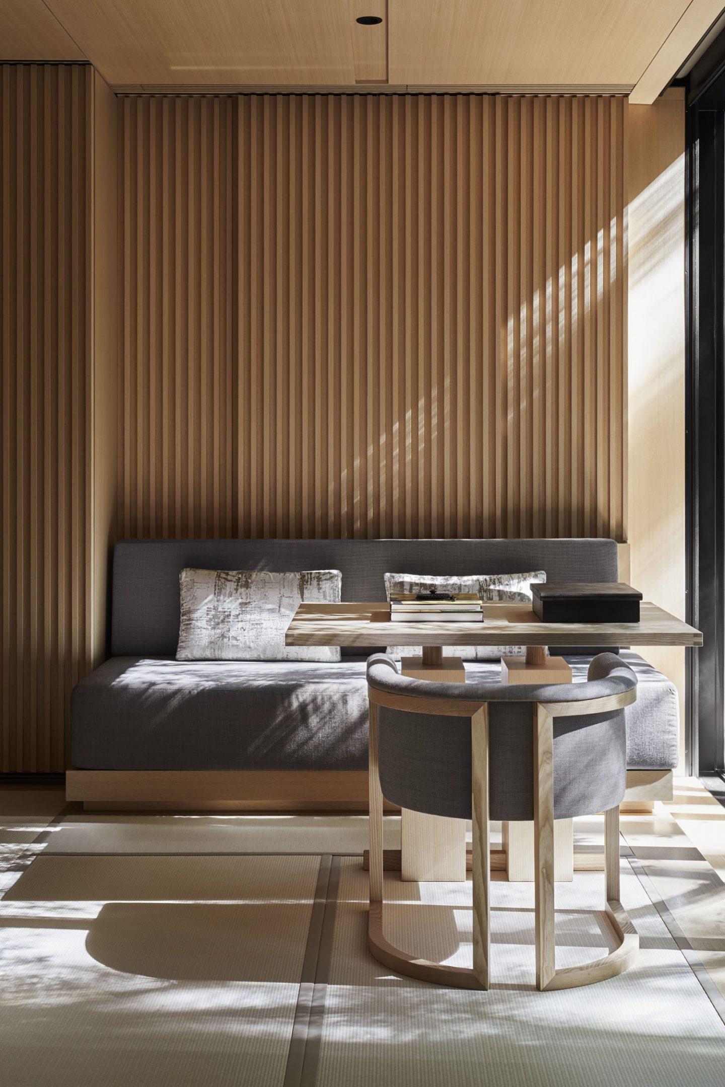 Aman Kyoto, Japan - Pavilion livingroom: Susuki, Nara, Kaede, Horatu, Takagamine, Washigamine.tif
