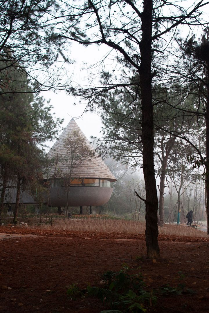 ZJJZ Atelier Designs A Mushroom-Shaped Guest House In The Middle Of A Pine Forest